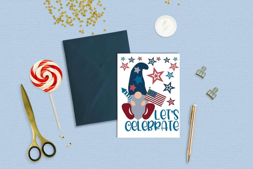 patriotic gnome greeting card mockup