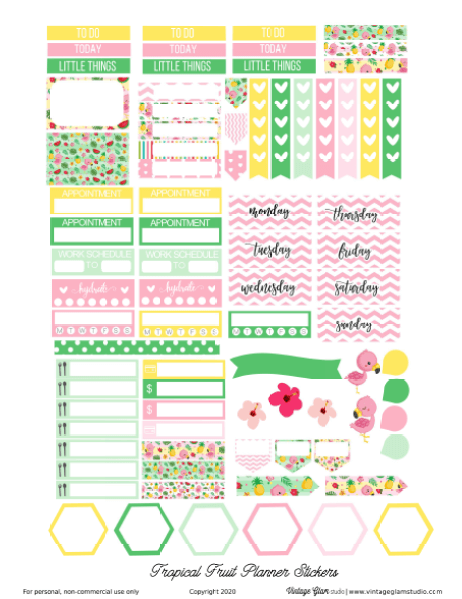 tropical planner stickers