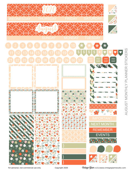 monthly planner stickers