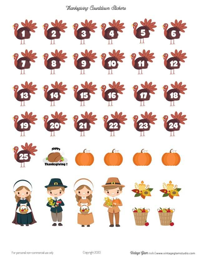 thanksgiiving countdown stickers