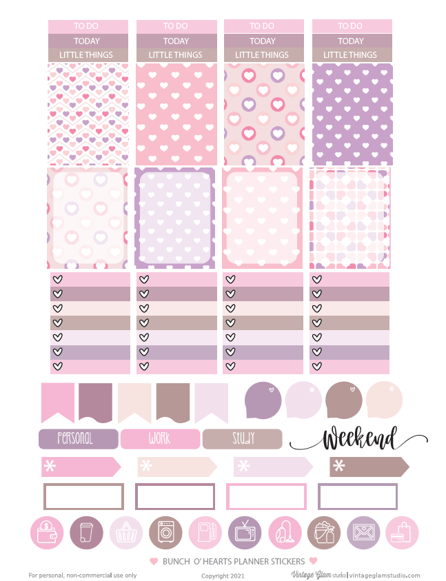 hearts planner stickers