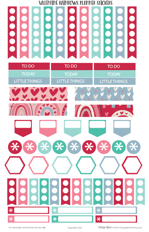 Valentine Rainbows Planner Stickers
