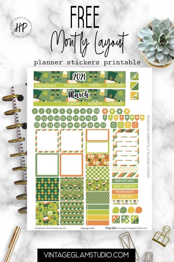 monthly layout stickers