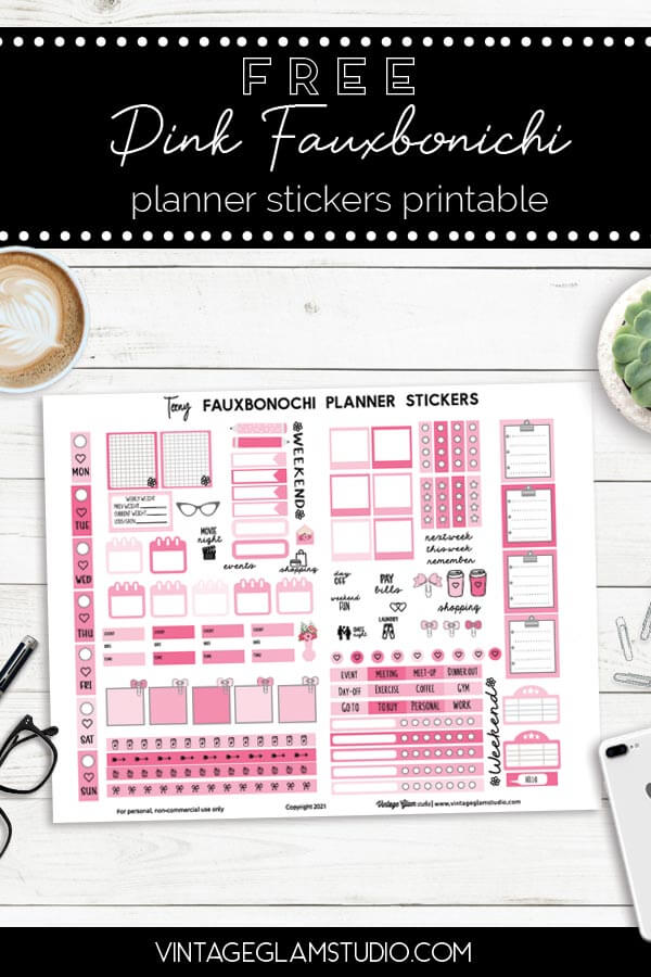 pink fauxbonichi planner stickers
