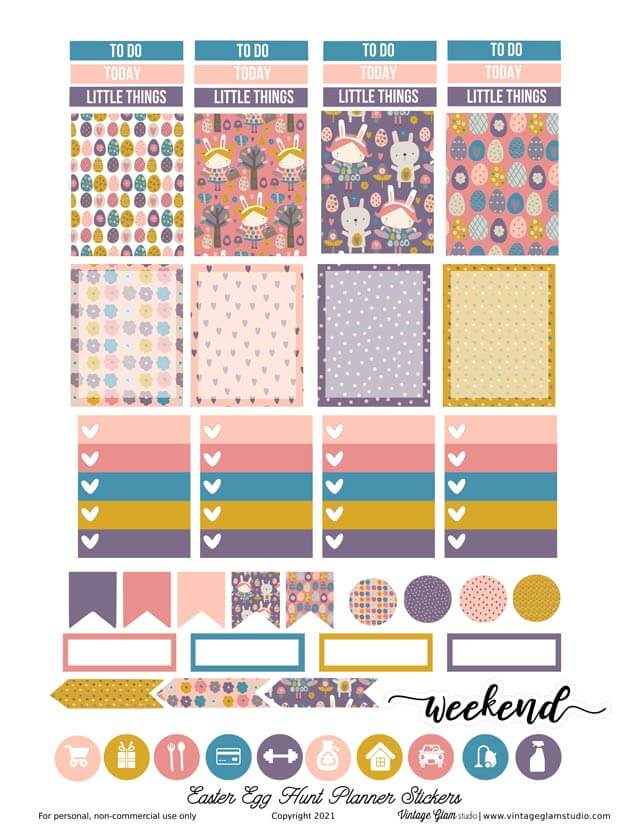 easter egg planner stickersprintable