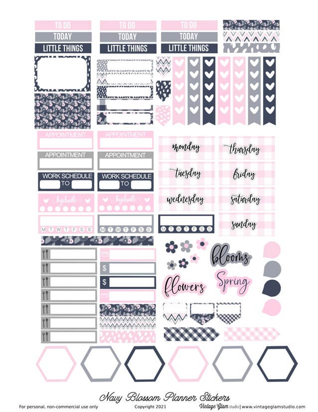 pink and navy planner stickers