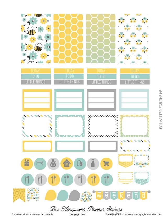 bee diy planner stickers
