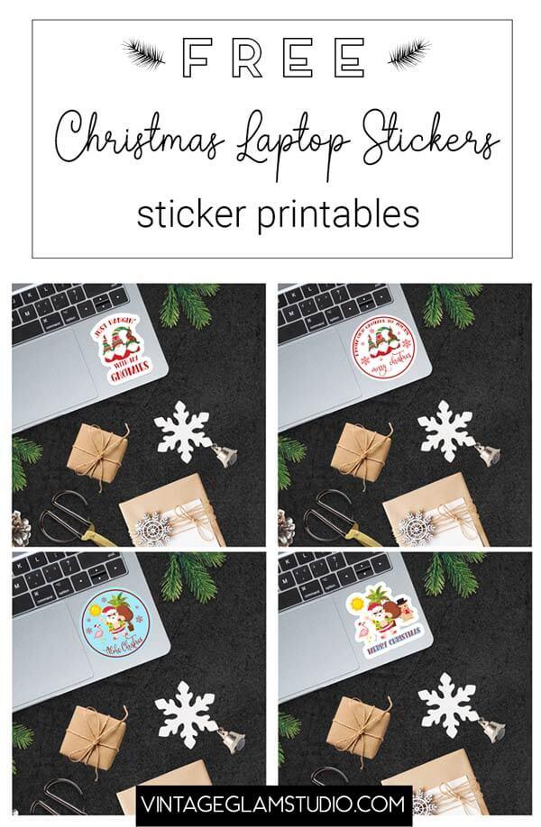 christmas laptop stickers