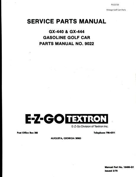 1989 Ezgo Golf Cart Parts Manual