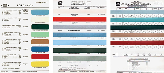 Left This 1956 Ford Color Chart Lists The Famous Fiesta Red Which Was