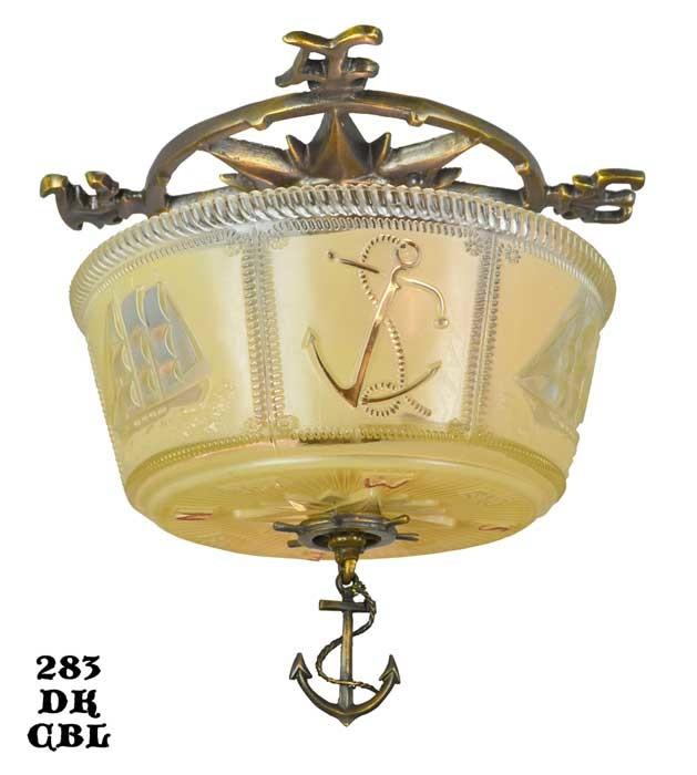 Vintage Hardware Amp Lighting Art Deco Close Ceiling Bowl Lights Nautical Marine Fixtures 283
