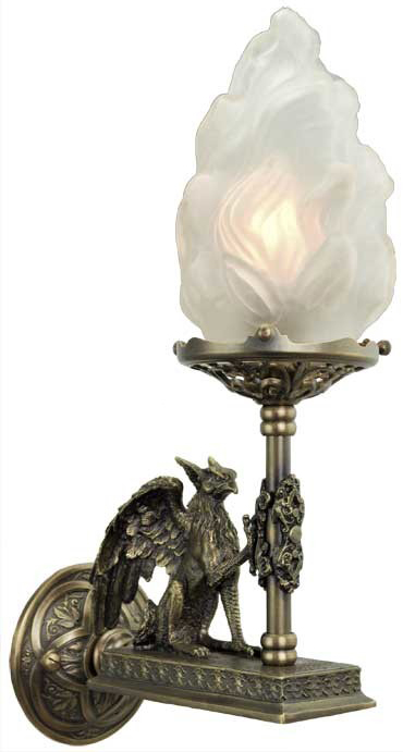 Victorian Gothic Figural Griffin Wall Sconce (338-DK-ES) on Victorian Wall Sconces id=92166