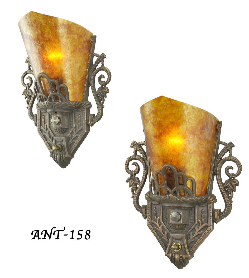Vintage Hardware & Lighting - Pair of Antique Restored Art ... on Vintage Wall Sconces id=49322