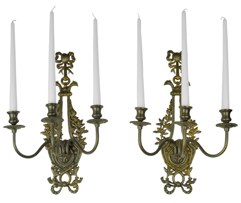 Vintage Hardware & Lighting - Victorian Neo-Rococo Pair of ... on Antique Style Candle Holder Sconces id=20105