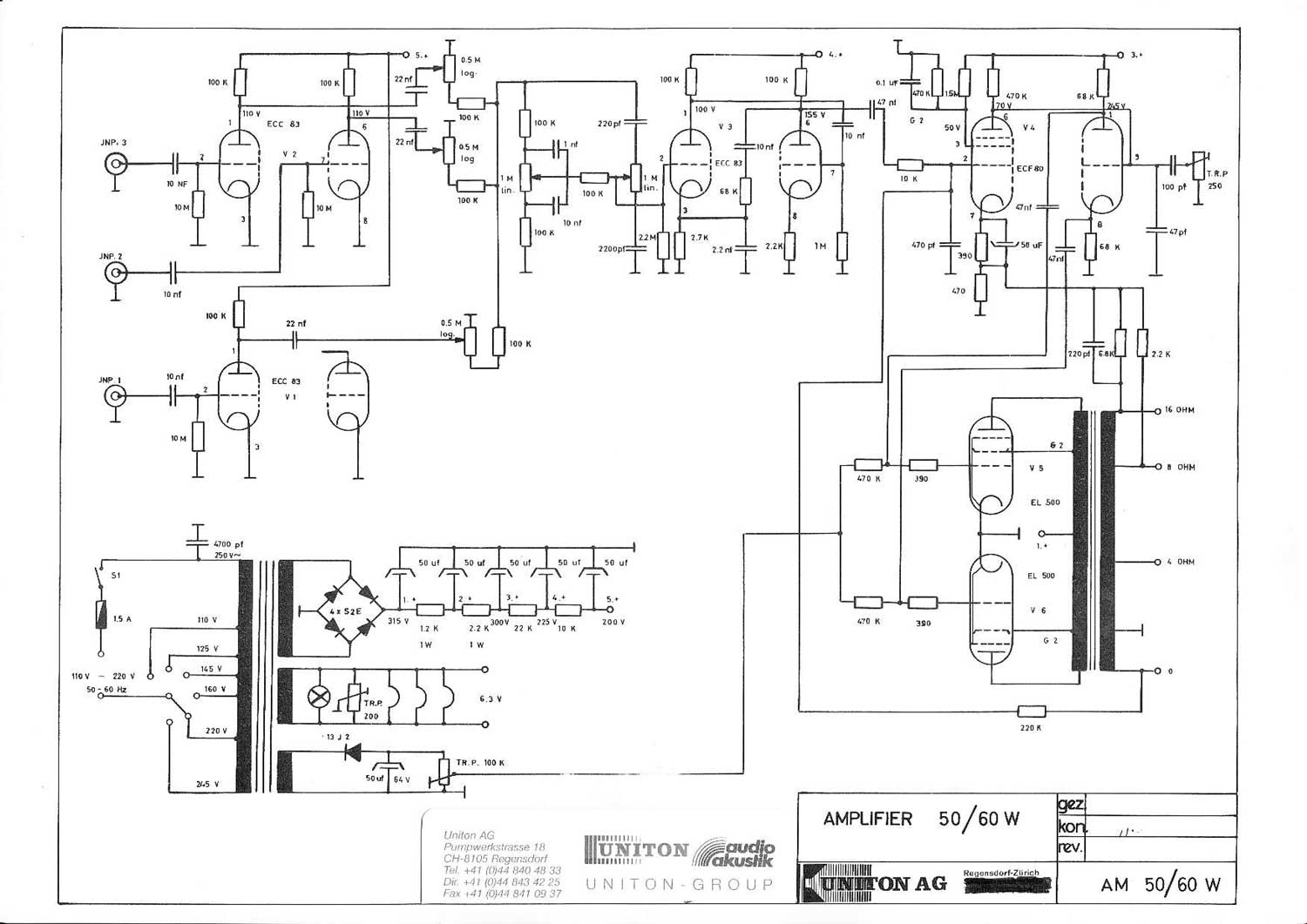 Uniton 50 60 Watt Amplifier Head Wiring Diagram