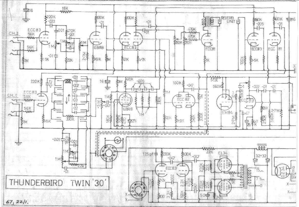 Selmer Thunderbird Twin 30 Amplifier Schematic