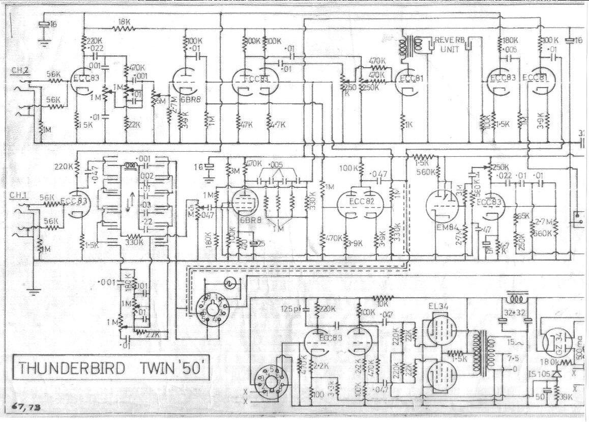Selmer Thunderbird Twin 50 Amplifier Schematic