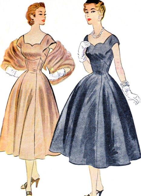 1950's cocktail dresses vintage illustration