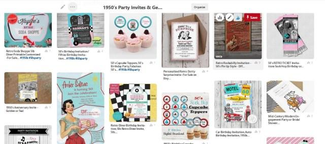 1950s party invites on pinterest