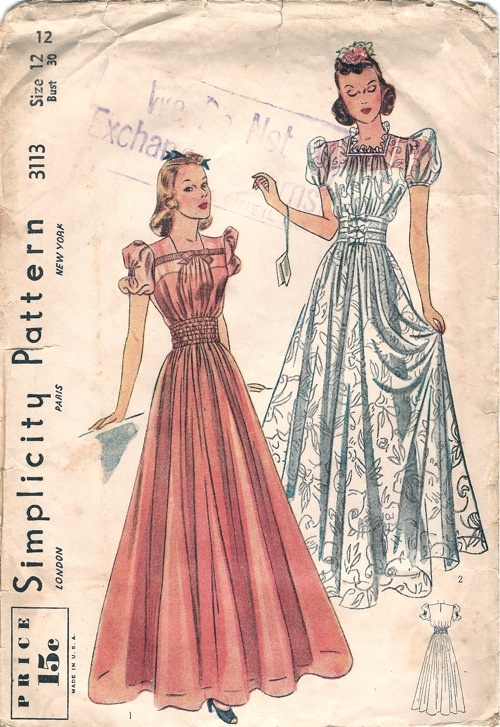 1930s vintage gown dress pattern image