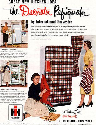 plaid vintage fridge