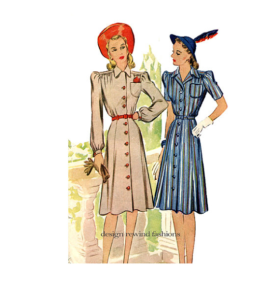 1940's Shirtwaist Dress