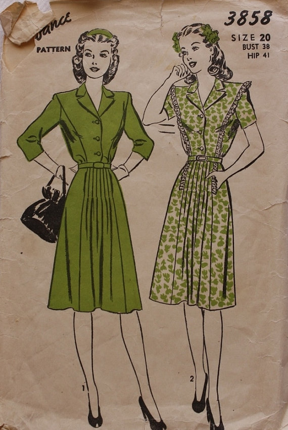 1940s Vintage Shirtwaist Dress pattern