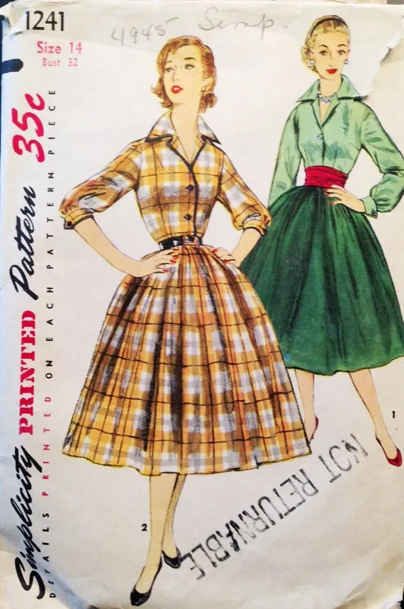 1950s shirtwaist dress pattern