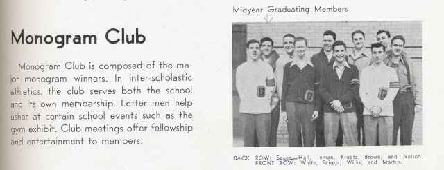1946 Yearbook Monogram Club