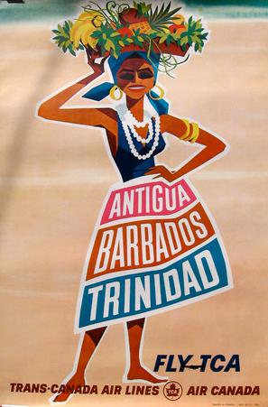Barbados Antiqua Trindad Vintage Travel Poster
