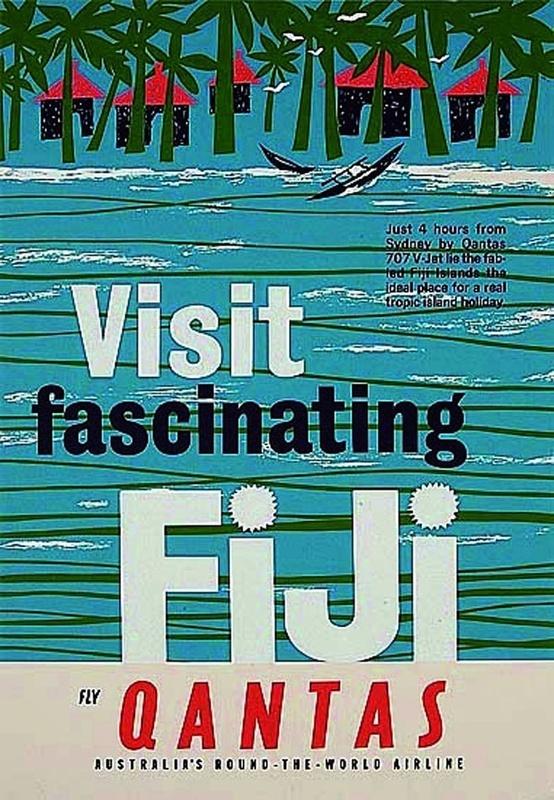 Vintage Fiji Travel Poster Ad-Quantas
