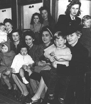 War brides and their children arriving in Halifax from overseas.