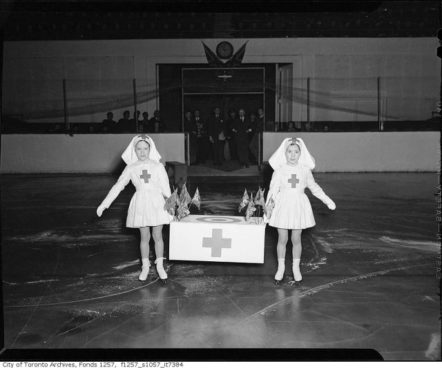 Girls skating at Red Cross meeting, Maple Leaf Gardens 1945