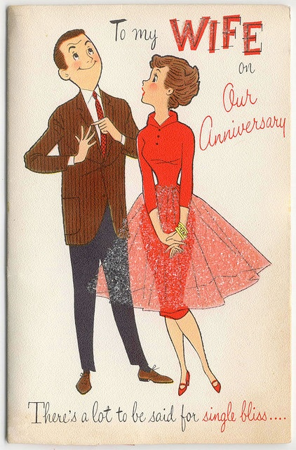 1950s Vintage wedding anniversary card fashionable outfit
