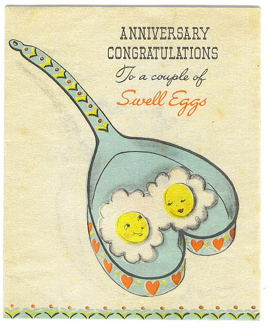 1950s wedding anniversary vintage card