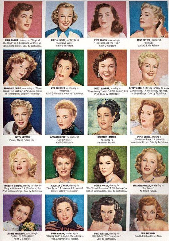 1950s retro hair chart