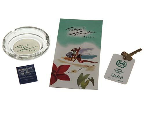 Royal Hawaiian Hotel key, Brochure, Ashtray and Matches