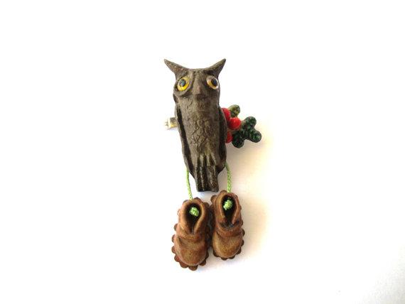 1960s vintage owl hat pin
