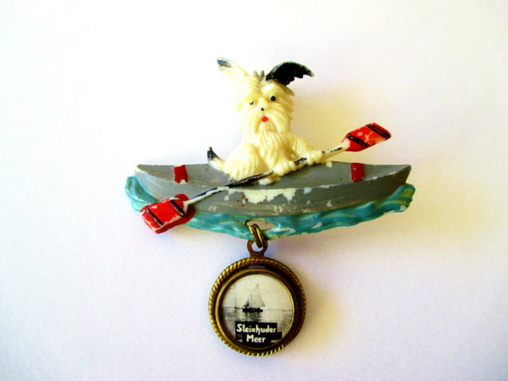 Dog in Canoe Germany Nautical Travel Souvenir Pinback Hat Pins Collectible Brooch Hatpins