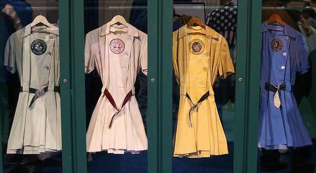 Uniforms from the All-American Girls Professional Baseball League