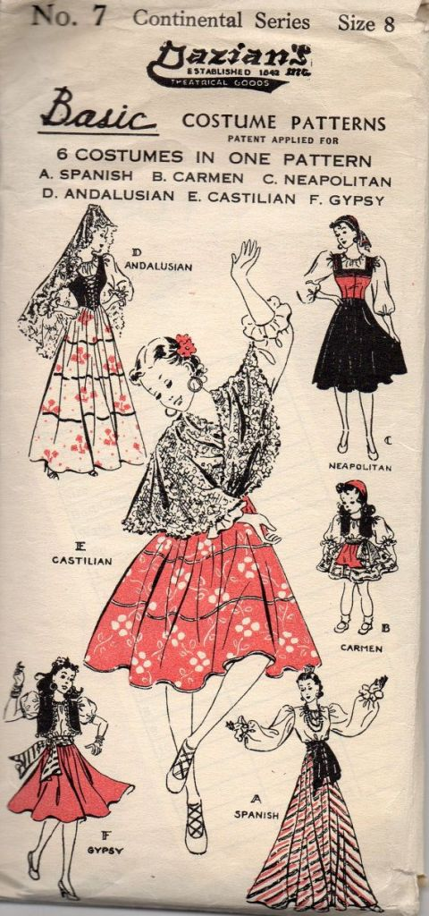 1940s spanish halloween costume pattern