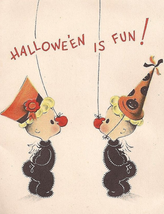 1950s halloween vintage greeting card