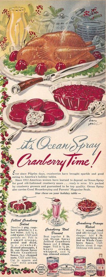 Ocean Spray Vintage Cranberry ad for Thanksgiving