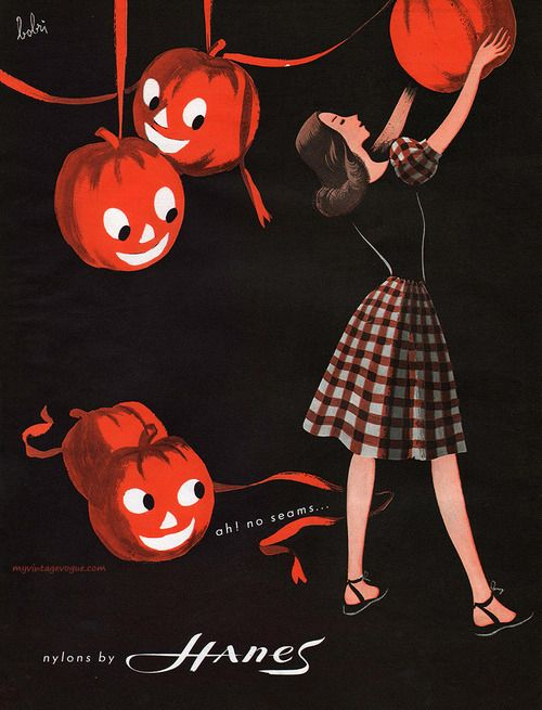 Hanes Stocking Nylons vintage halloween ad 1946