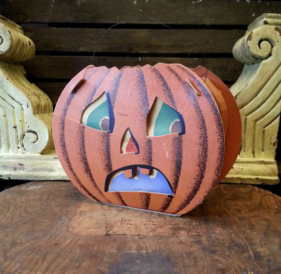 1950's Paper Jack O Lantern - Vintage Slot & Tab Pumpkin Die Cut Decoration by Dolly Toy Co.