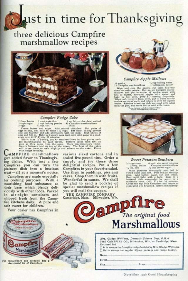 vintage ad for marshmallow dessert