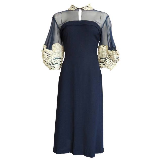 Howard Greer 1940s Silk Dress