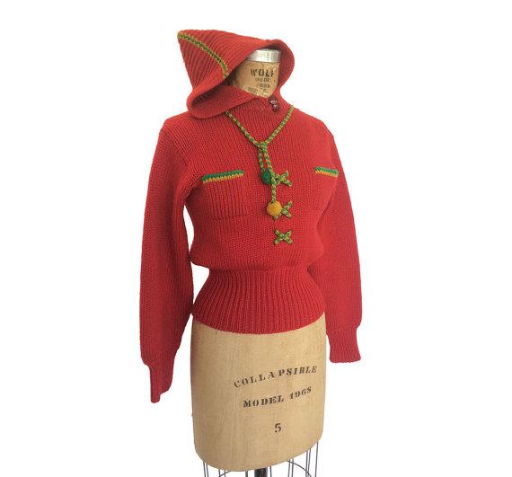 1950s Red Hoodie Drawstring vintage Sweater