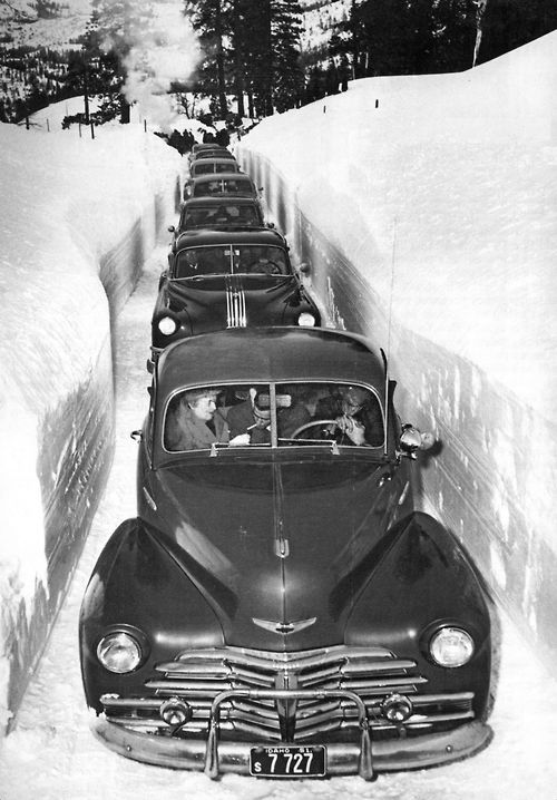vintage image of cars in snow early 1950s