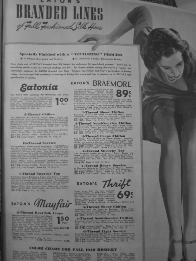 1940s Silk Hosiery Advertisiment in Eatons Catalogue